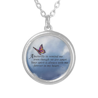 Butterfly  Memorial Poem Round Pendant Necklace