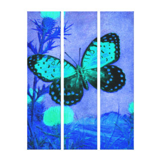 Butterfly - Midnight Blue, Aqua, Black Gallery Wrapped Canvas