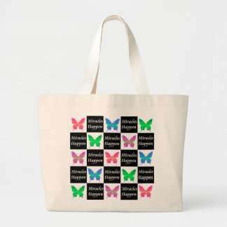 BUTTERFLY MIRACLES HAPPEN DESIGN LARGE TOTE BAG