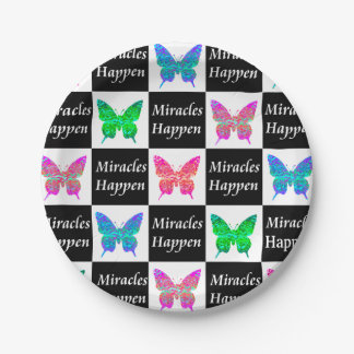 BUTTERFLY MIRACLES HAPPEN DESIGN 7 INCH PAPER PLATE