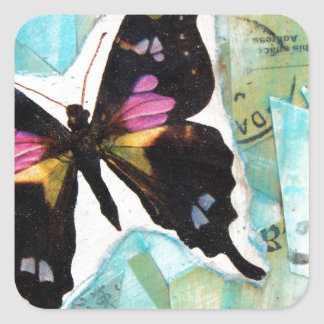 Butterfly Mixed Media Collage Square Sticker
