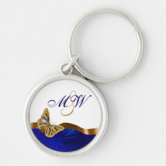 Butterfly monogram couples romantic keychain