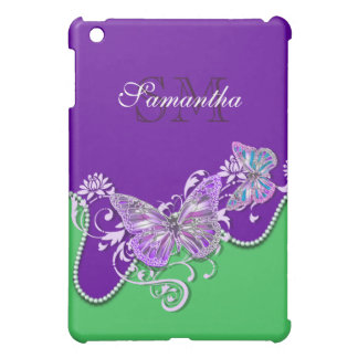 Butterfly monogram girls name iPad mini cover