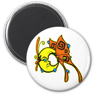 Butterfly Moon 2 Inch Round Magnet
