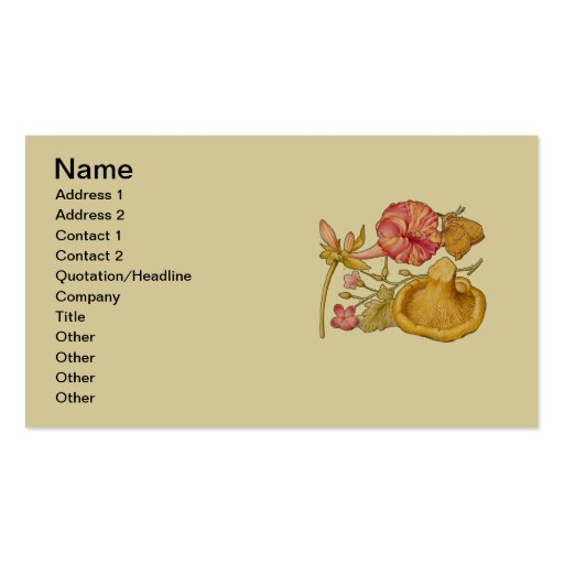 Butterfly, Mushroom and Flower Watercolor Business Card Template