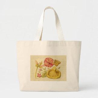 Butterfly, Mushroom and Flower Watercolor Jumbo Tote Bag