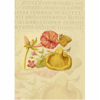 Butterfly, Mushroom and Flower Watercolor Statuette