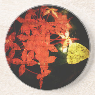 Butterfly music beverage coasters