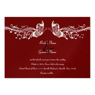 "Butterfly Music Fidelity Wedding Invitations 5"" X 7"" Invitation Card"