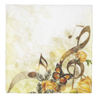 Butterfly Music Notes (2 Sides) Queen Duvet Cover at Zazzle