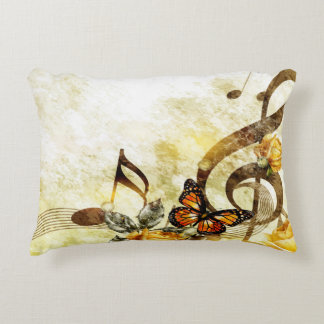 Butterfly Music Notes Accent Pillow