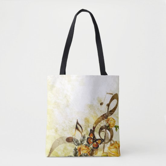 Butterfly Music Notes All-Over-Print Tote Bag