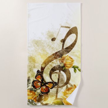 Beach Themed Butterfly Music Notes Beach Towel