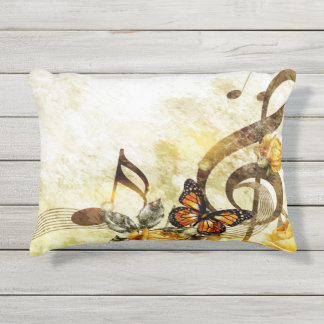 Butterfly Music Notes Outdoor Accent Pillow