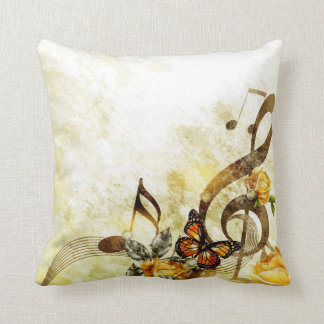 Butterfly Music Notes Throw Pillow