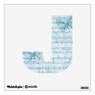 Butterfly Musical Romance Blue Letter J Wall Decal