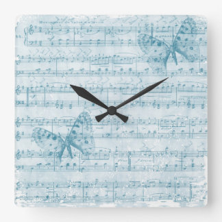 Butterfly Musical Romance Blue Square Wall Clock