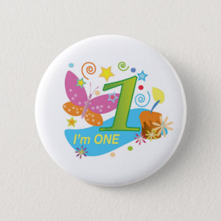 Butterfly: My first birthday Button