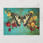 Butterfly n Roses Postcard