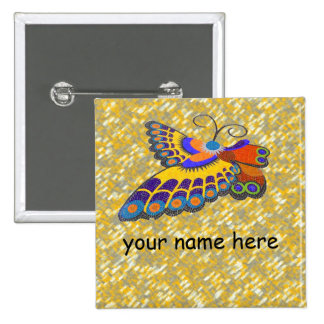 Butterfly name badge 2 inch square button