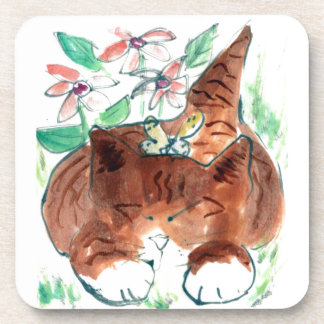 Butterfly Nap - sleepy kitten , Sumi-e in color Drink Coaster