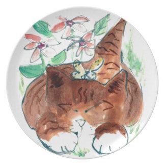Butterfly Nap - sleepy kitten , Sumi-e in color Melamine Plate
