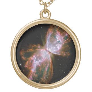 Butterfly Nebula Round Pendant Necklace
