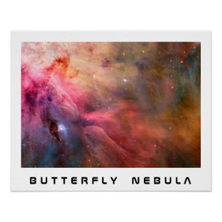 Butterfly Nebula White Border With Custom Text Poster