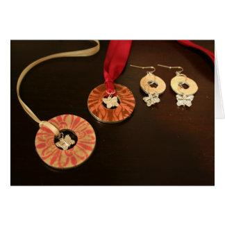 Butterfly Necklaces and Earrings Greeting Card