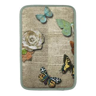 Butterfly Newspaper Floral Print MacBook Sleeve