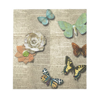 Butterfly Newspaper Floral Print Notepad