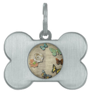 Butterfly Newspaper Floral Print Pet Name Tag
