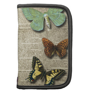 Butterfly Newspaper Floral Print Folio Planner