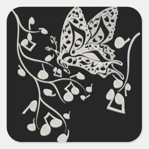 Butterfly_Notes Pegatina Cuadrada