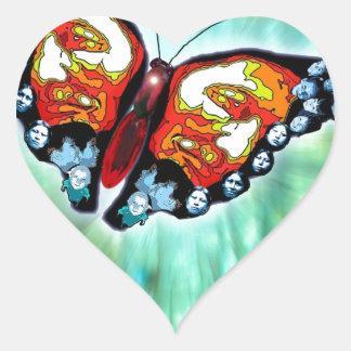 Butterfly of Cherokee Legend Heart Sticker