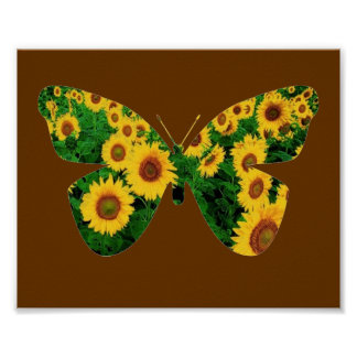 Butterfly of Sunflowers Poster