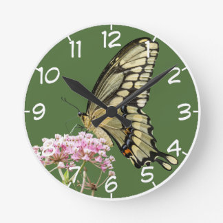 Butterfly On A Flower Round Clock