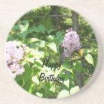 Butterfly on a Lilac Bush- Birthday Sandstone Coaster