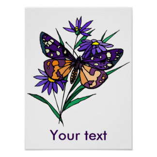 Butterfly on a purple flower  Customizable Poster