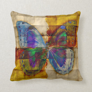 Butterfly on Antique Checkered Pattern Throw Pillows