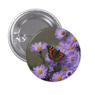 Butterfly on Asters Button