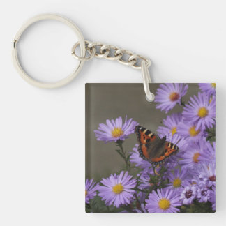 Butterfly on Asters Keychain