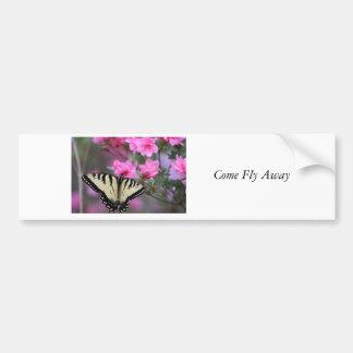Butterfly on Azalea Bush Bumper Sticker
