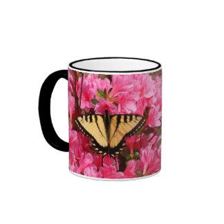 Butterfly on Azaleas Ringer Mug