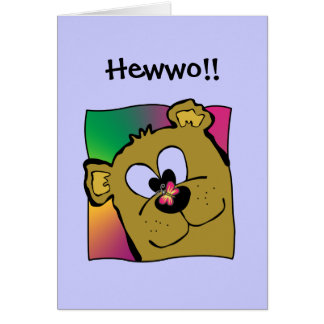 Butterfly On Bear Nose Greeting Cards