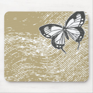 Butterfly on Beige Mouse Pad