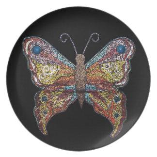 Butterfly on black - Mission Kids Dinner Plates