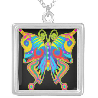 Butterfly on Black Necklace