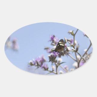 Butterfly on Blossom Branch Oval Sticker