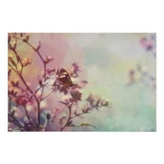 Butterfly on Blossom Branch Poster